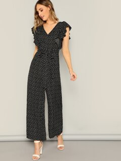 Ruffle Armhole Knotted Back Love Print Jumpsuit