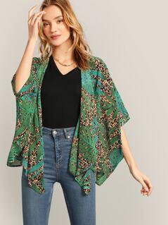 Open Front Tropical & Leopard Print Kimono