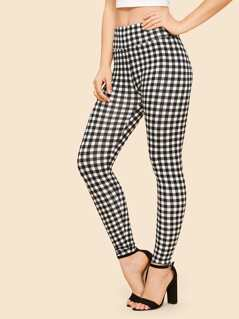 Wide Waist Gingham Leggings