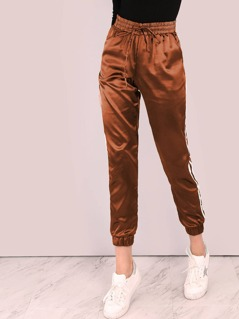 Striped Side Elastic Drawstring Pants