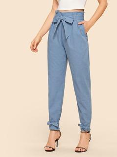 70s Paperbag Waist Belted Hem Peg Pants