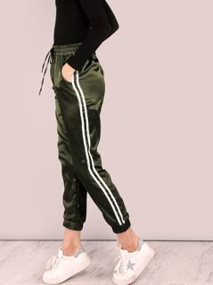 Drawstring Waist Striped Satin Crop Pants