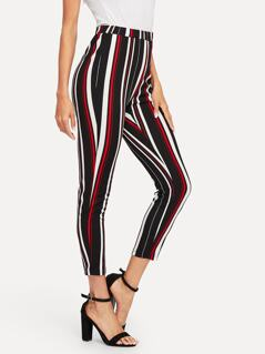 Stretch Knit Striped Crop Pants