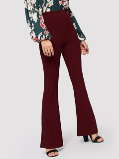 High Waist Flare Hem Solid Pants
