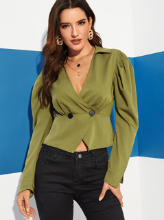 Gigot Sleeve Double Breasted Fitted Blouse