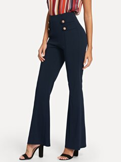 Double Breasted Detail Flare Leg Pants