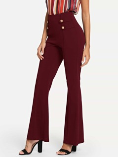 High Waist Button Detail Boot-cut Leg Pants