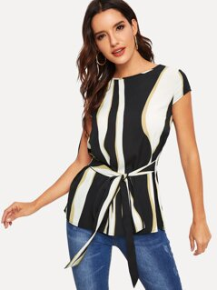 Cap Sleeve Colorblock Belted Blouse