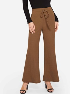 Knot Front Flared Leg Pants