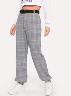 Elastic Hem Wide Leg Plaid Pants