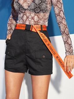 Multi-pocket Utility Shorts With Push Buckle Belt