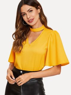 Choker V Neck Flutter Sleeve Top