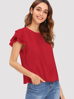 Layered Flutter Sleeve Scallop Hem Top