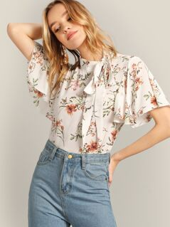 Tie Neck Flutter Sleeve Floral Top