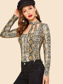 Tie Neck Cut Out Snakeskin Print Tee