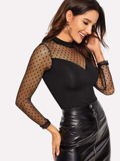 Dot Mesh Sweetheart Keyhole Back Fitted Tee