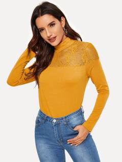 Floral Lace Yoke Stretch Tee