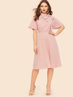 70s Tie Neck Flutter Sleeve Dress