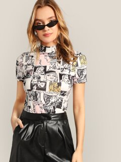 Mock-neck Comic Print Top
