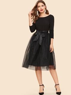 Bow Tie Waist Mesh Overlay Dress