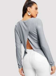 Wrap Asymmetrical Back Rib-knit Tee