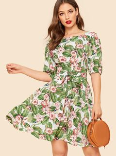 60s Floral Print Belted Dress