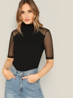 Frilled Neck Striped Mesh Sleeve T-shirt