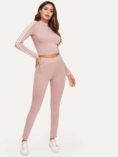 Mock Neck Striped Tape Sideseam Fitted Top & Leggings Set