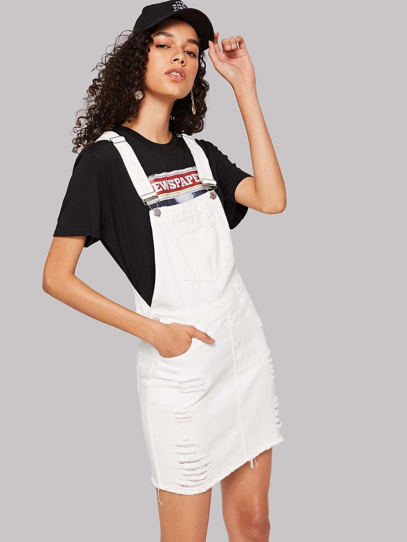 9b0e9e40850 Джинсовое платье-сарафан с необработанным краем
