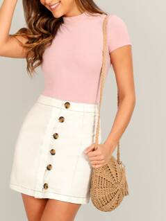 Button Front Twill Mini Pencil Skirt