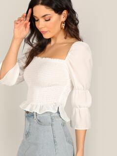 Square Neck Smocked Bodice Long Sleeve Blouse