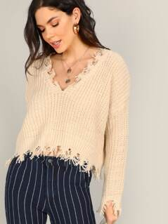 V-Neck Raw Edge Knit Pullover Sweater