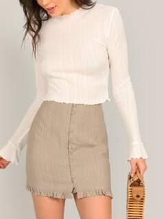 Button Front Ruffle Hem Mini Pencil Skirt
