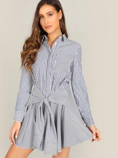 Waist Tie Button Front Striped Shirt Dress