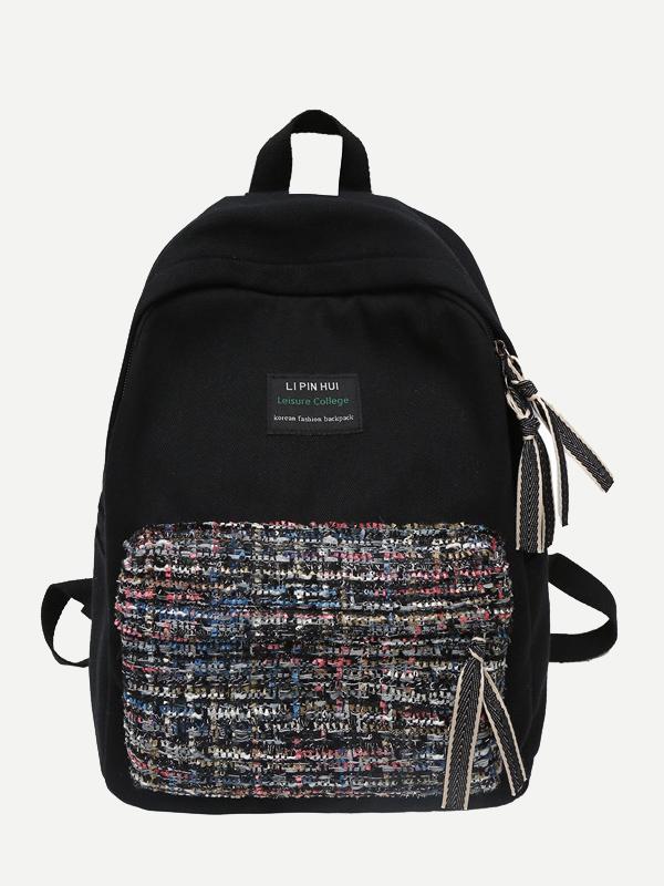 Купить Карманный рюкзак из твида с карманом спереди, null, SheIn