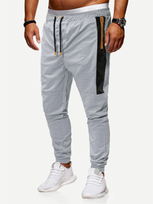 Men Contrast Pu Zipper Side Drawstring Pants