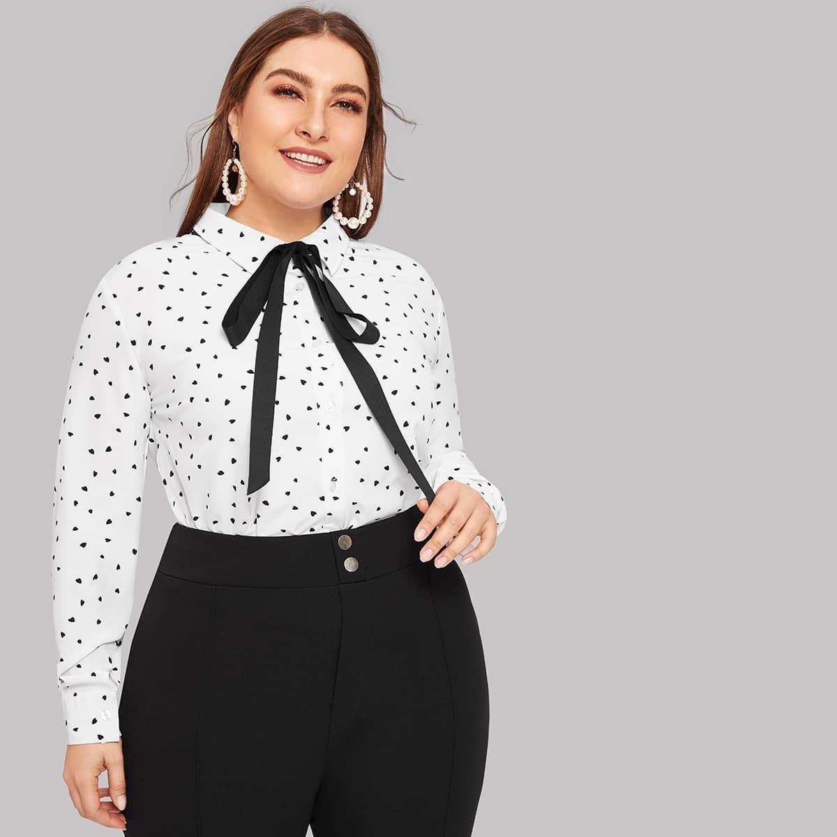 Wit Elegant Grote maten blouses Tie neck