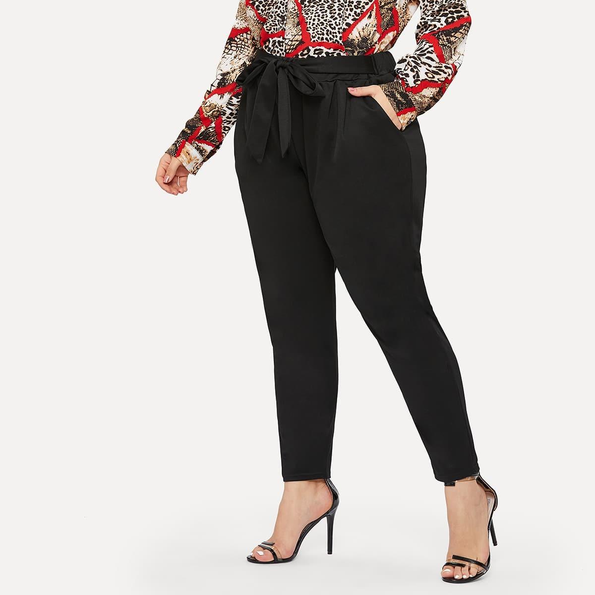 SHEIN / Pantalones sólidos de cintura con lazo-grande