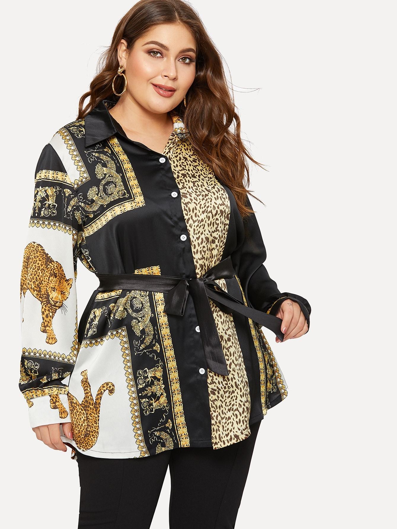 Купить Размера плюс блуза с поясом и графическим принтом, Carol, SheIn