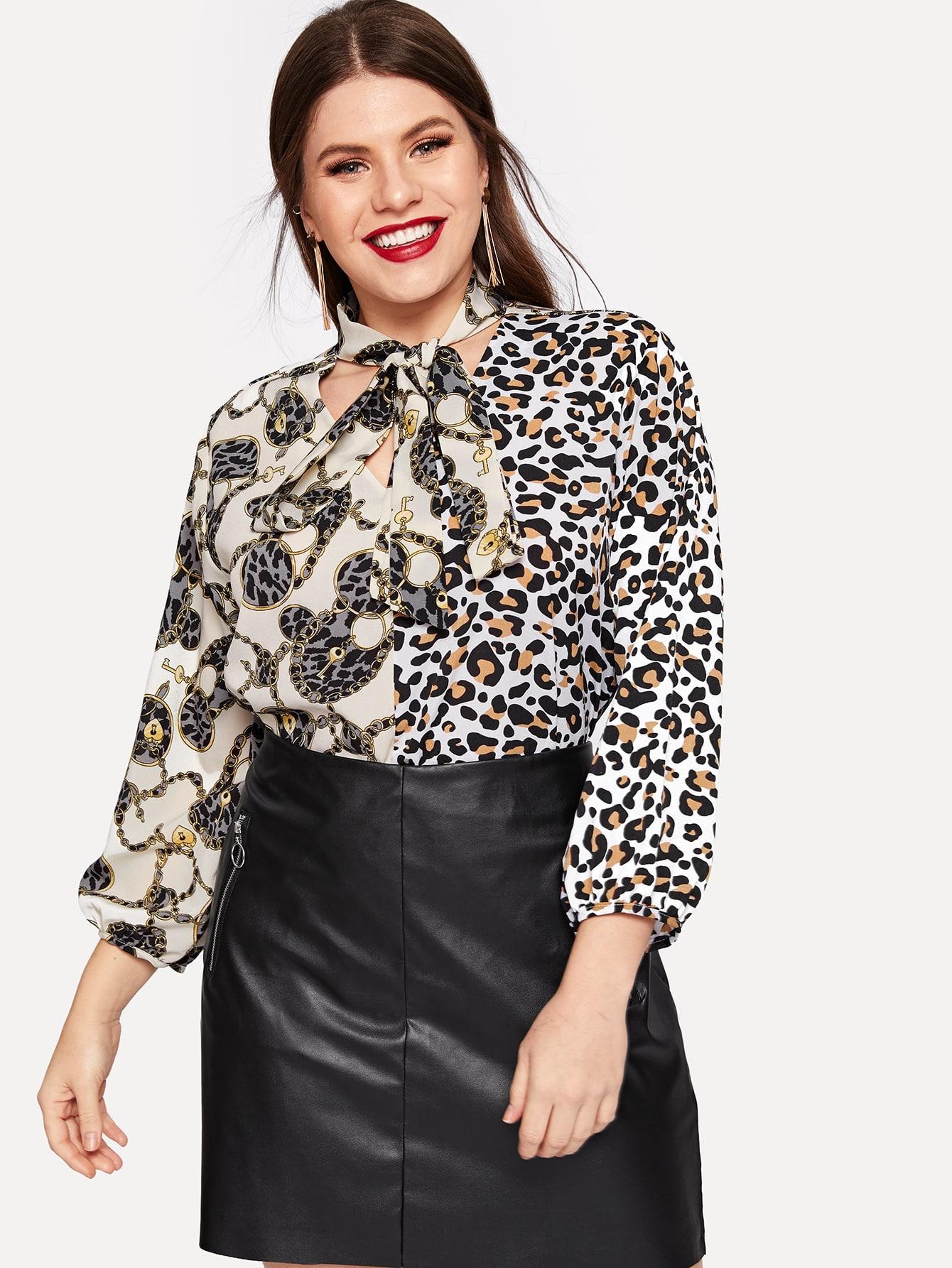 Купить Размера плюс блуза с завязкой на шее и леопардовым и графическим принтом, Isabela, SheIn
