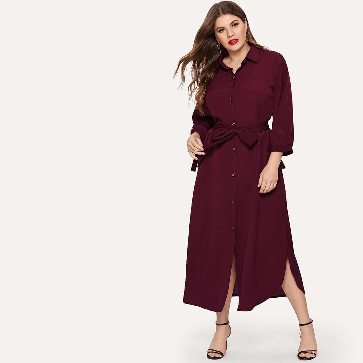 Bordeaux Casual Vlak Grote maten jurken Riem