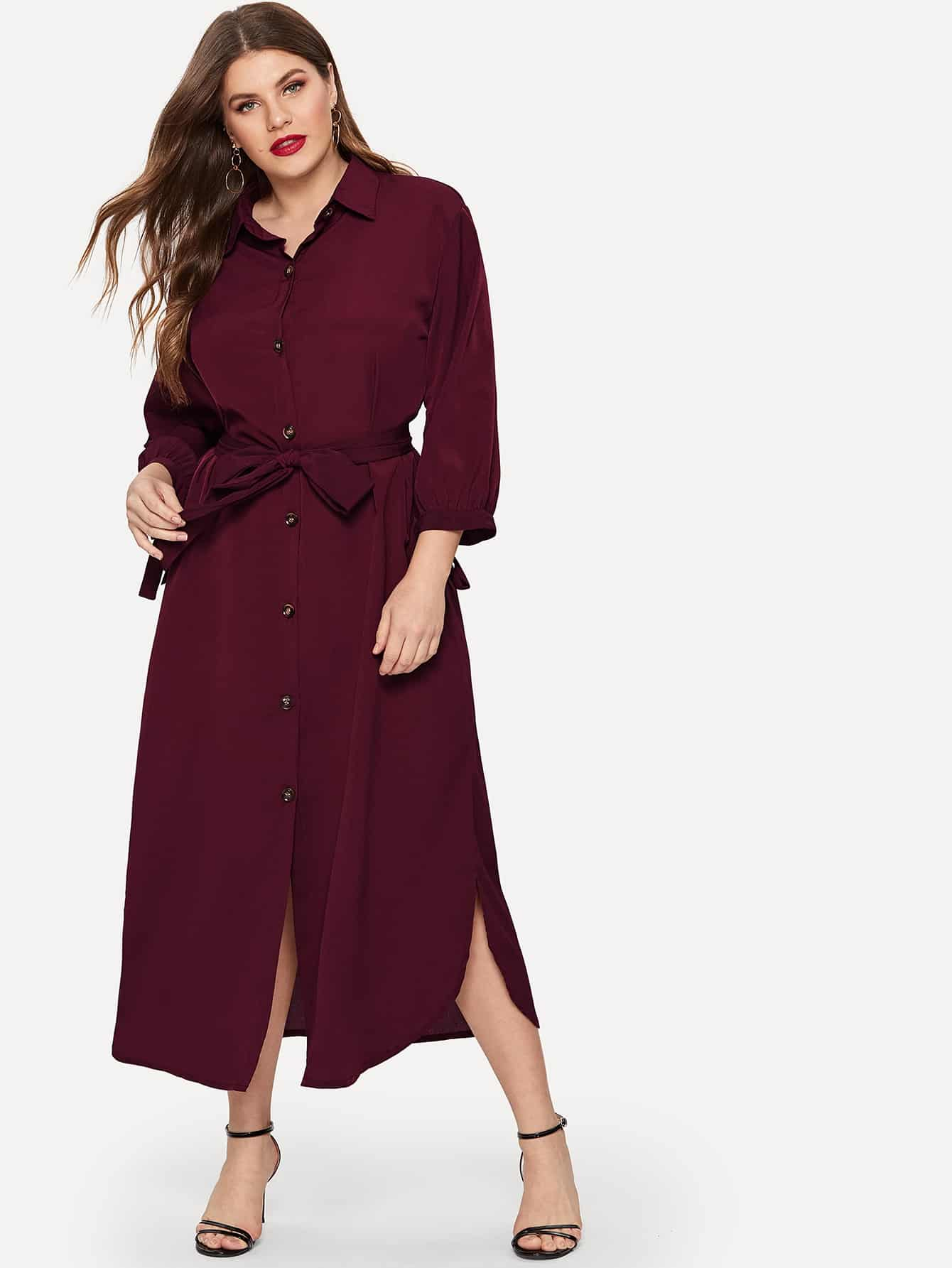 Размера плюс однобортное платье-рубашка с разрезом