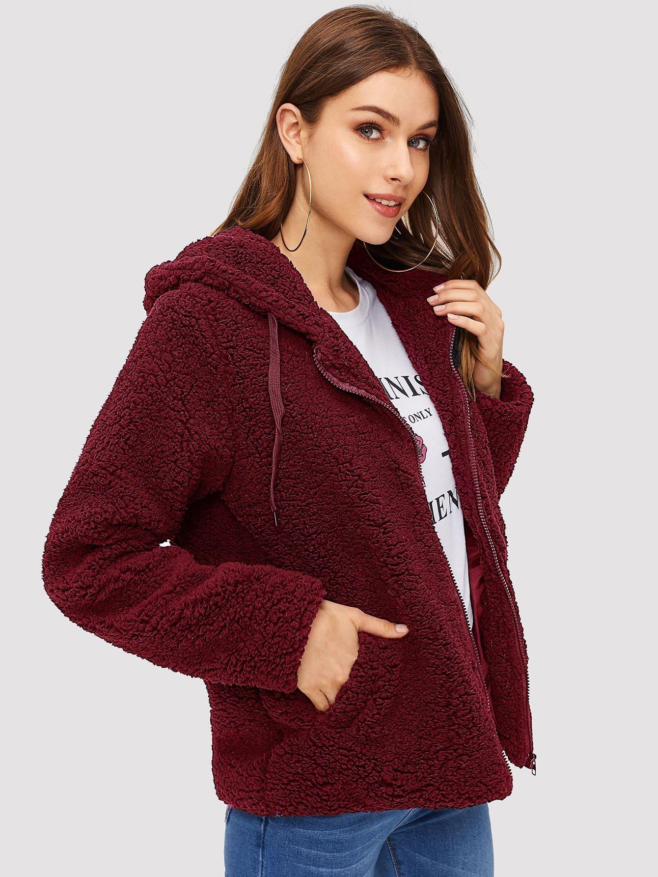 Купить Пальто тедди на молнии с капюшоном, Katie Fitzsimmons, SheIn