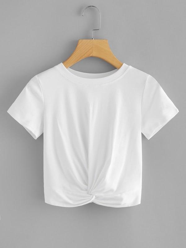 Купить Размера плюс однотонная футболка с драпировкой, null, SheIn