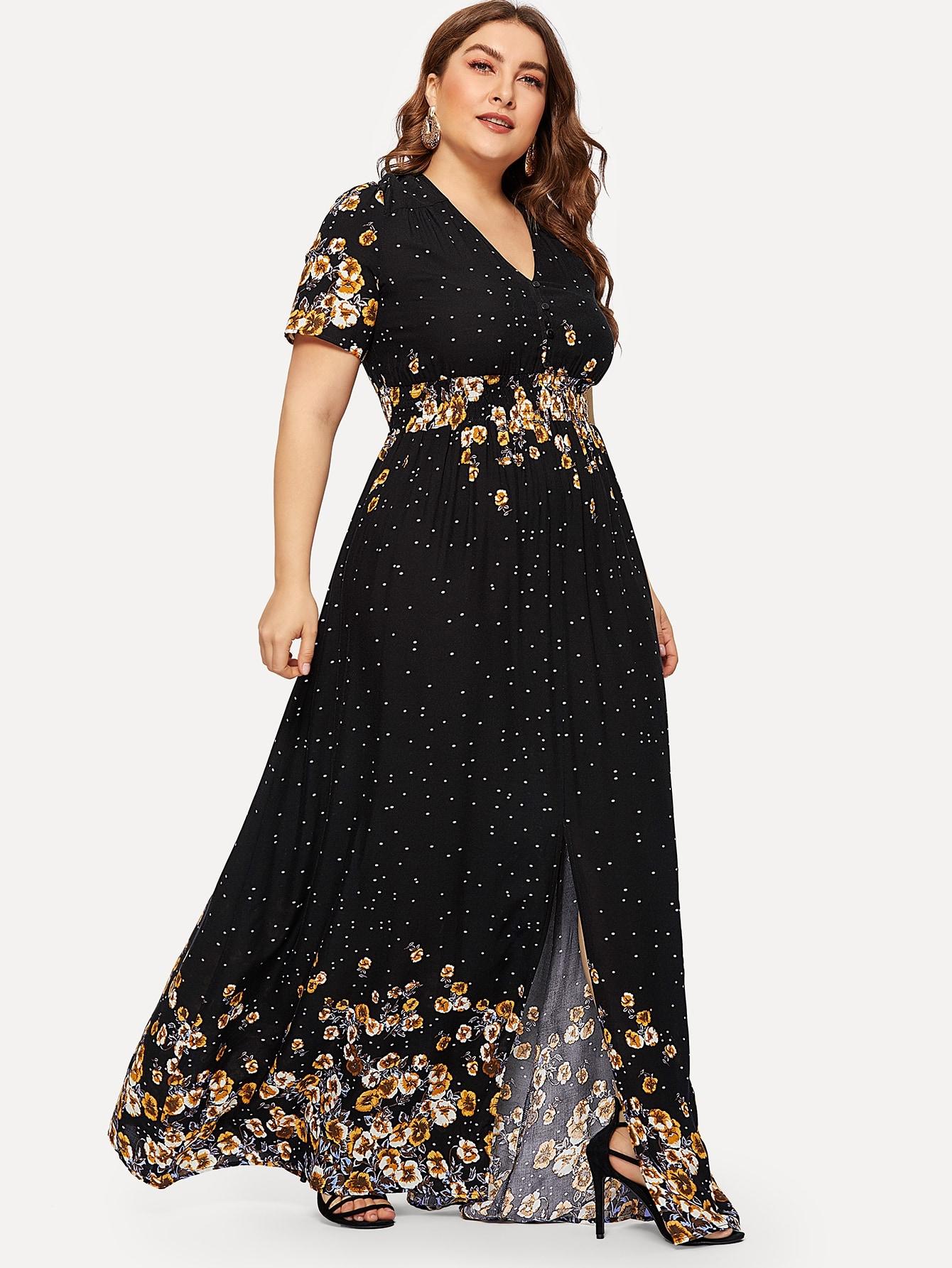 Размер плюс цветочное платье с молнией