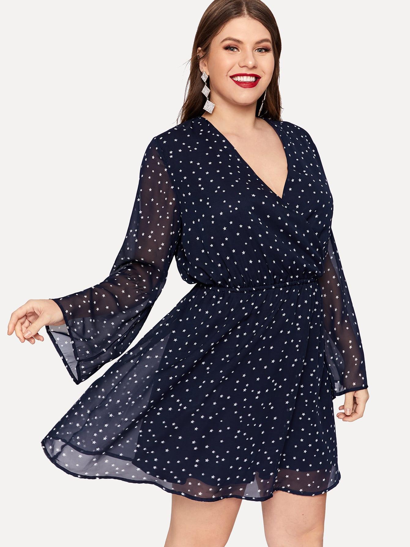 Купить Размер плюс платье на запах с оригинальным рукавом и принтом звездов, Isabela, SheIn
