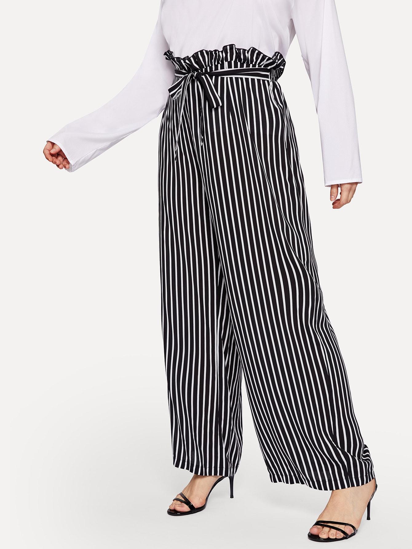Купить Размер плюс широкие брюки с полосатами, Isabela, SheIn