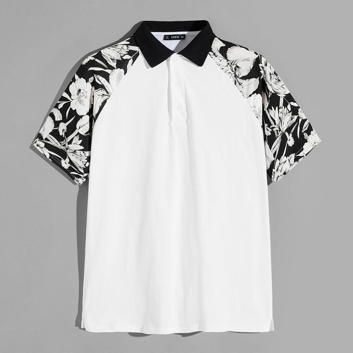 Wit Casual Bloemen Poloshirts voor heren Knoop