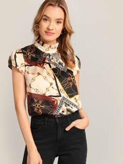 Chain & Scarf Print Frilled Neck Blouse