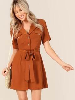 Flap Pocket Belted Utility Shirt Dress